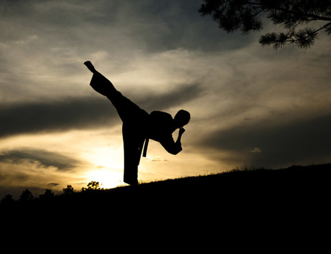 Teenager in silhouette practicing martial arts at sunset.